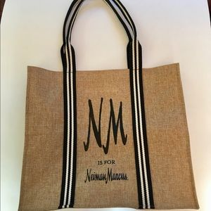 NWOT NEIMAN MARCUS jute & cotton canvas tote Lined